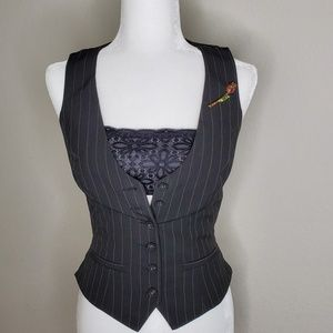 bebe vest with black bralette